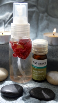 I use  Rosewater and a drop of either Peppermint/Rose Essential Oil or Alcohol Free Rose Perfume