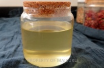 Clear Rose Infused Oil free from bits. I now add Rose Essential Oil (optional)