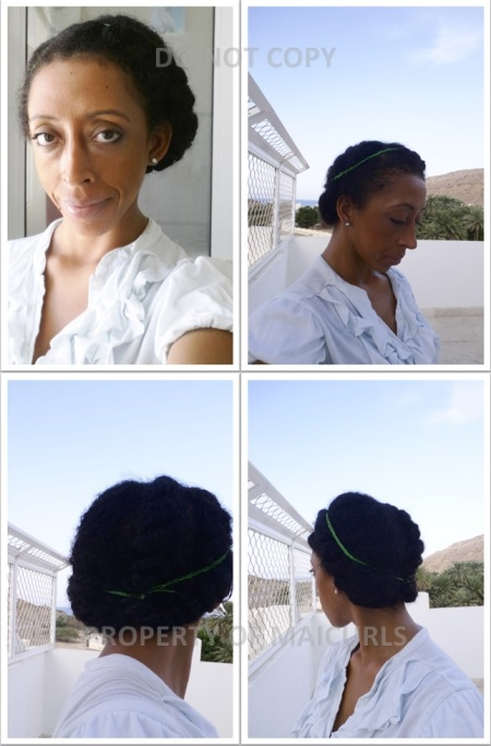 First style - 3 loose flat twists and accessories (this was the last day before I changed the style).