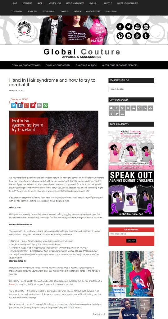 Hand In Hair syndrome and how to try to combat it