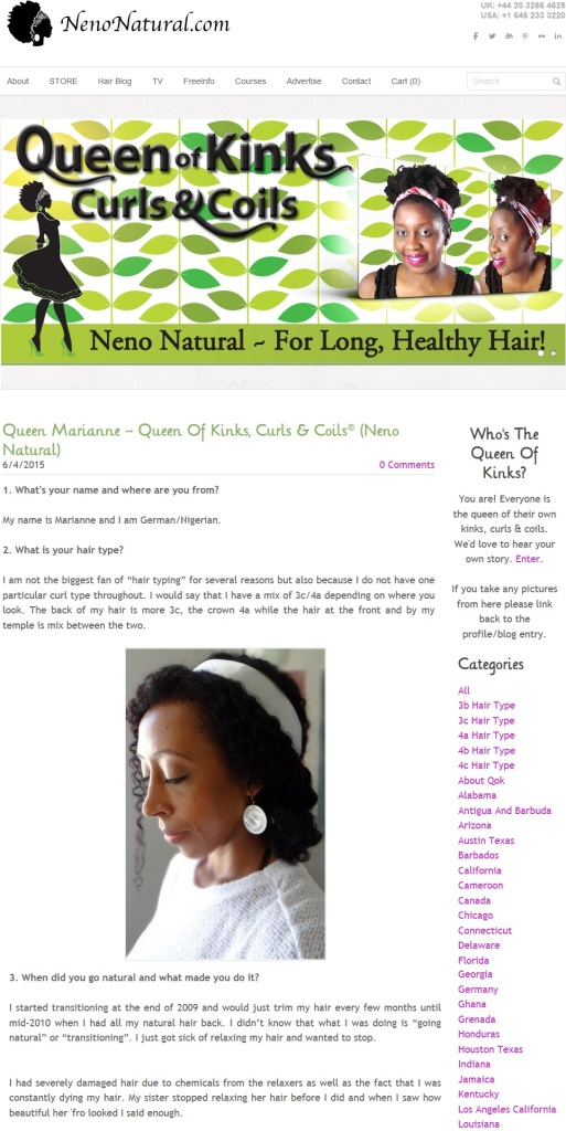 Feature story on NenoNatural.com Queen of Kinks Curls & Coils