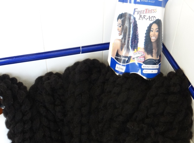Freshly washed and conditioned Freetress Crochet Braiding Hair - Bouncy Twist out