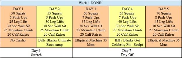 Week 1 Workout Schedule