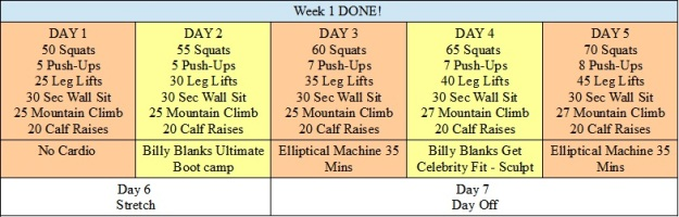 Week 1 Workout Schedule